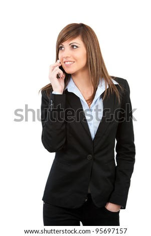 Attractive  young business woman talking on cell phone. Isolated on white.