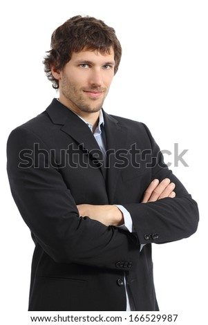 Attractive young businessman posing with folded arms isolated on a white background