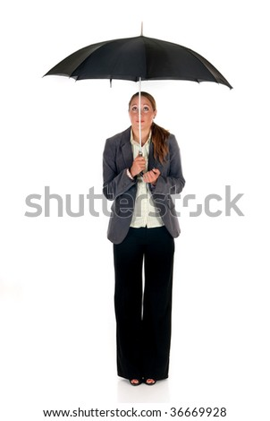 Attractive young businesswoman, assurance agent with umbrella.  studio shot.