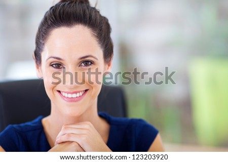 attractive young businesswoman closeup portrait
