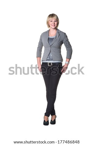 Attractive Young Businesswoman. Isolated on white background - stock photo