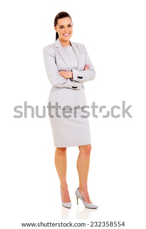 attractive young businesswoman posing on white background - stock photo