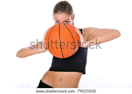 attractive young caucasian girl with basketball ball, fitness girl, beauty caucasian russian girl, cheerleading girl.isolated over white, sexual sport woman, isolated over white,