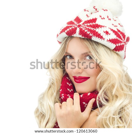 attractive young caucasian woman in warm clothing  in studio isolated on white smiling hat warm - stock photo