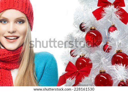 attractive young caucasian woman in warm colorful clothing.  - stock photo