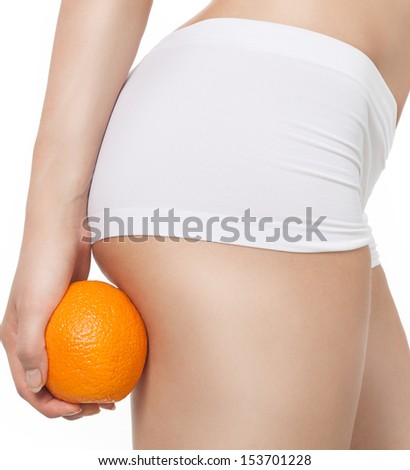 attractive young caucasian woman isolated  on white background studio shot figure body orange - stock photo