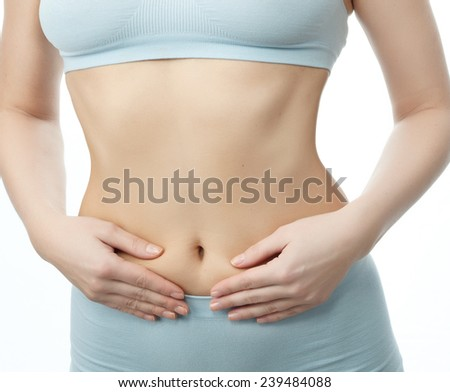 attractive young caucasian woman isolated  on white background studio shot figure body smiling - stock photo