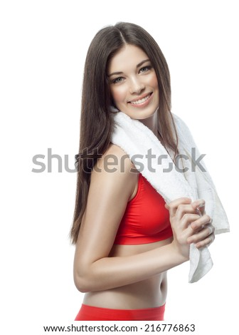 attractive young caucasian woman isolated  on white background studio shot figure body towel spa