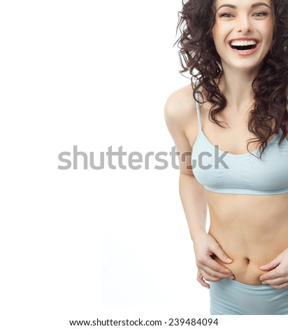 attractive young caucasian woman isolated  on white studio shot figure body toothy smile happy - stock photo