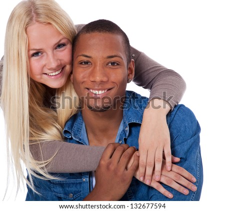 Attractive young couple. All on white background. - stock photo