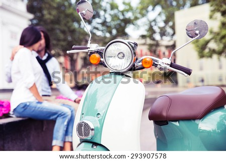 Attractive young couple in love enjoying the summer day - stock photo