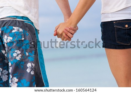 attractive young couple in love having fun in summer holidays vacation - stock photo