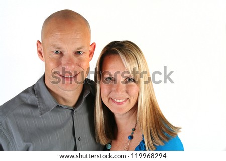 Attractive young couple isolated on white background - stock photo