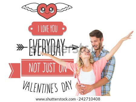 Attractive young couple smiling and embracing against cute valentines message - stock photo