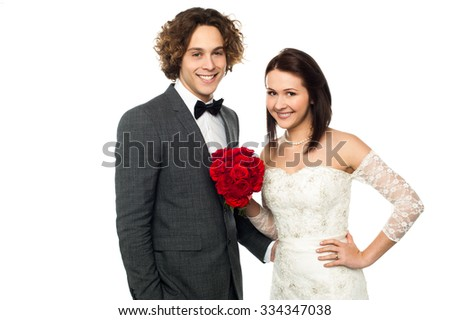 Attractive young couple, wedding portrait. - stock photo