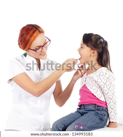 Attractive young doctor and the little girl isolated on white
