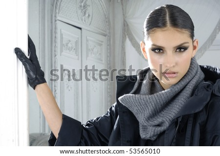 Attractive young fashion model posing in the studio - stock photo