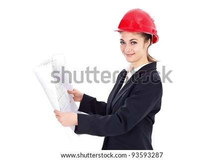 Attractive young female engineer with blueprints over white background - stock photo