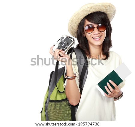 attractive young female happy ready to go on vacation, isolated on white background - stock photo
