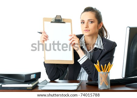 attractive young female office worker holds wooden board with blank A4 card, isolated on white background