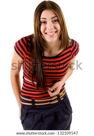 Attractive young girl in a red striped shirt