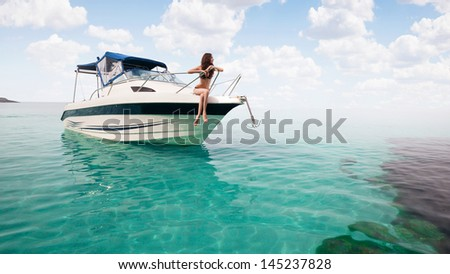Attractive young girl in bikini posing on a yacht at a sunny summer day  - stock photo
