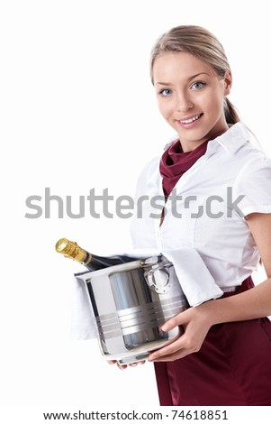 Attractive young girl with a bottle of champagne on a white background - stock photo