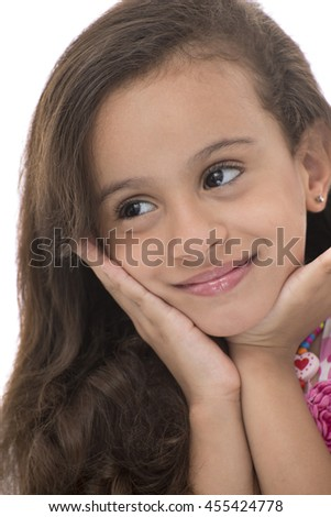 Attractive Young Girl With Beautiful Smile Looking Away Isolated on White Background - stock photo