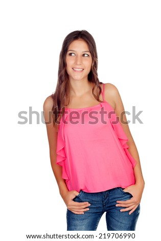 Attractive young girl with jeans isolated on a white background - stock photo