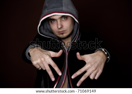 attractive young guy rap dj focus on hands - stock photo