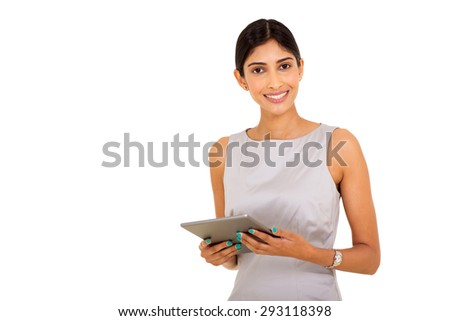 attractive young indian businesswoman using tablet pc - stock photo