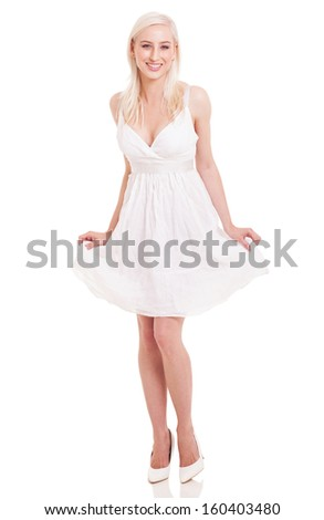 attractive young lady posing in white dress isolated on white background - stock photo