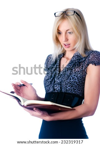 Attractive young lady with diary was surprised over white background..