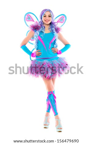 Attractive young leggy woman wearing butterfly costume. Isolated on white  - stock photo