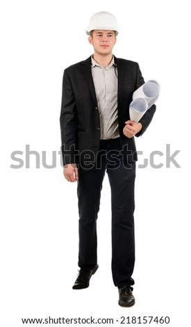 Attractive young male architect or engineer wearing a suit and hardhat carrying rolls of blue prints under his arm standing looking up into the air, on white - stock photo