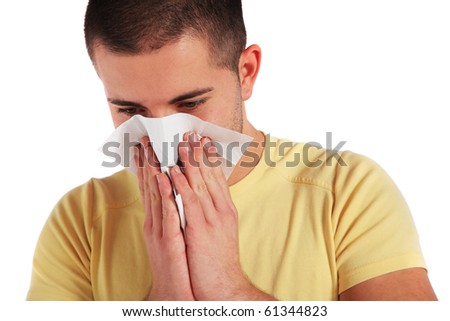 Attractive young man got a cold. All isolated on white background. - stock photo