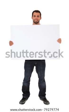 Attractive young man holding blank white sign. All on white background. - stock photo