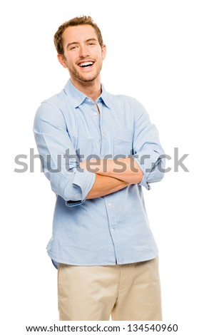attractive young man in casual clothing white background