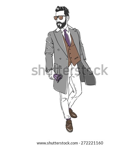 Attractive young man in fashion coat and sunglasses. Hand draw illustration. Isolated. Rasterized copy. - stock photo