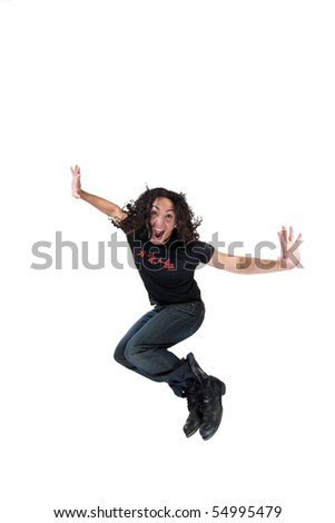 Attractive young man jumps in the air, stylish and fun image