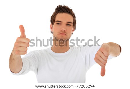 Attractive young man showing thumbs up and thumbs down. All on white background. - stock photo