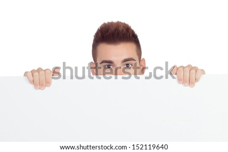 Attractive young man with a blank placard isolated on white background