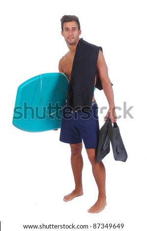 Attractive young man with a boogie board (Isolated in white background) - stock photo