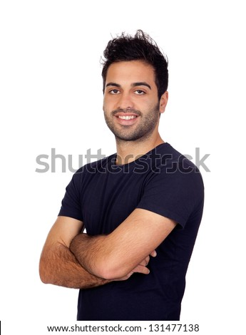 Attractive young men in black isolated on white background - stock photo