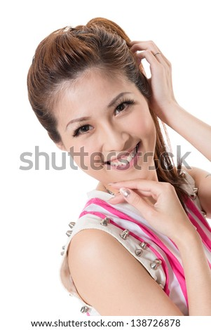 Attractive young modern lady of Asian, closeup portrait on white background.
