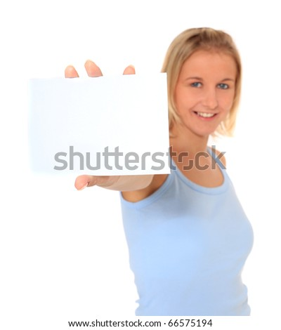 Attractive young scandinavian woman holding white card. Extra text space on white card. All on white background