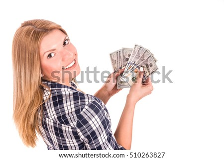 Attractive young student woman  counts money what to spend it. Isolated on white background.