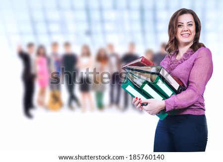 Attractive young teacher and group of Pupils - stock photo