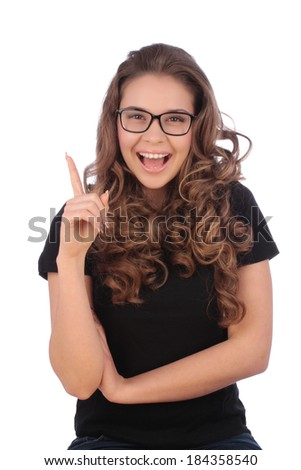Attractive young teenager having a good idea - stock photo