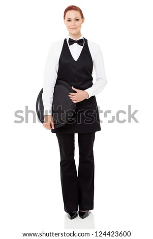attractive young waitress holding a tray isolated on white - stock photo